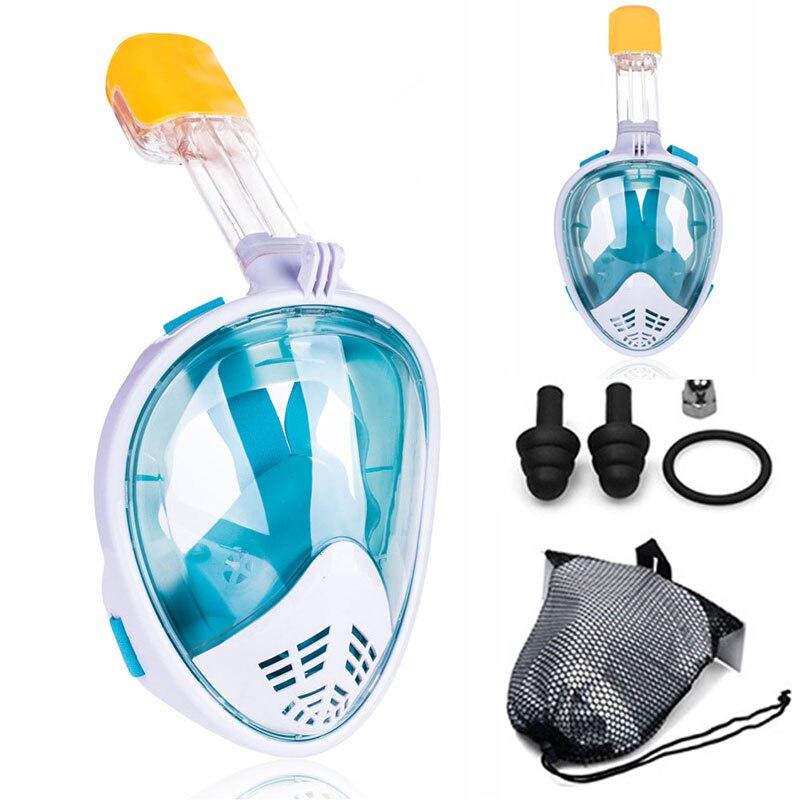 Adulto novato buceo máscara de cara completa Anti niebla bajo el agua máscara de Snorkel natación máscara para Gopro cámara (miopía opción de lentes)