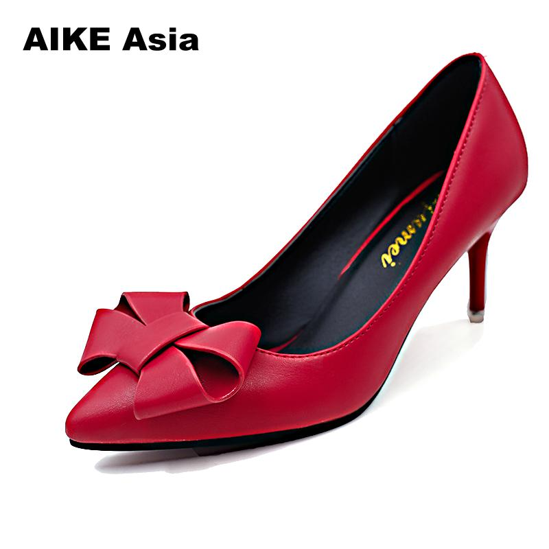 Women Pumps Fashion High Heels Femals Shoes Pumps Pointed Toes Sweet Butterfly-knot Zapatos Mujer Sexy Pumps  Ladies  Stiletto
