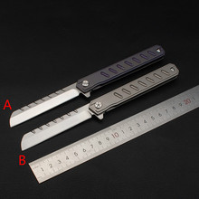 Hot style  Folding Knife D2 blade TC4 titanium alloy handle outdoor camping hunting Tools utility Pocket fruit Knives 2019 hot gift outdoor tc4 titanium alloy mini d2 blade damascus bearing key chain quality folding knife camping pocket knife
