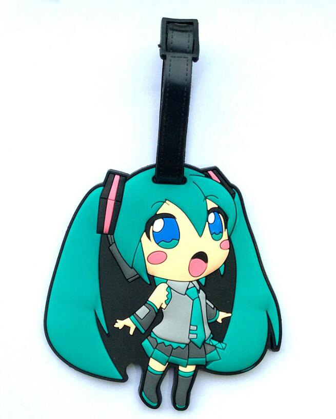 1Pcs/set Hatsune Miku Luggage Tag Baggage Hanging Pendant figure toys Label ID/Address/Phone/Name Holder Travel Accessories