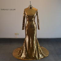 Robe De Soiree 2017 Luxurious Gold Sequin Mermaid Prom Dresses High Neck Long Sleeve Evening Formal