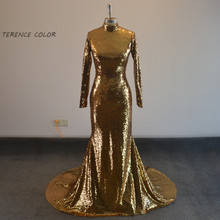 hot deal buy robe de soiree 2017 luxurious gold sequin mermaid prom dresses high neck long sleeve evening formal dresses evening dresses