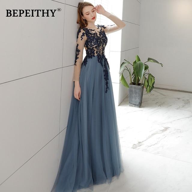 Vestido De Festa Open Back Long Evening Dress Full Sleeves 2019 Vintage Lace Prom Party Dresses Robe De Soiree Hot