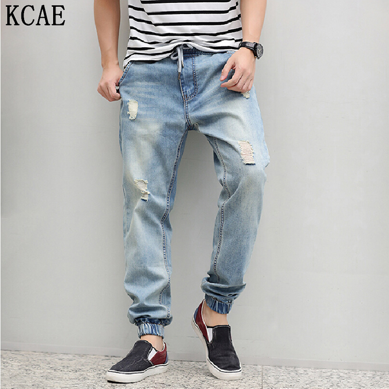 ФОТО Jeans Ankle-Tied Harem Pants Hip Hop Harajuku Autumn Jeans Hommes Jeans Men 2015 High Street Style Plus Size M-4XL brand