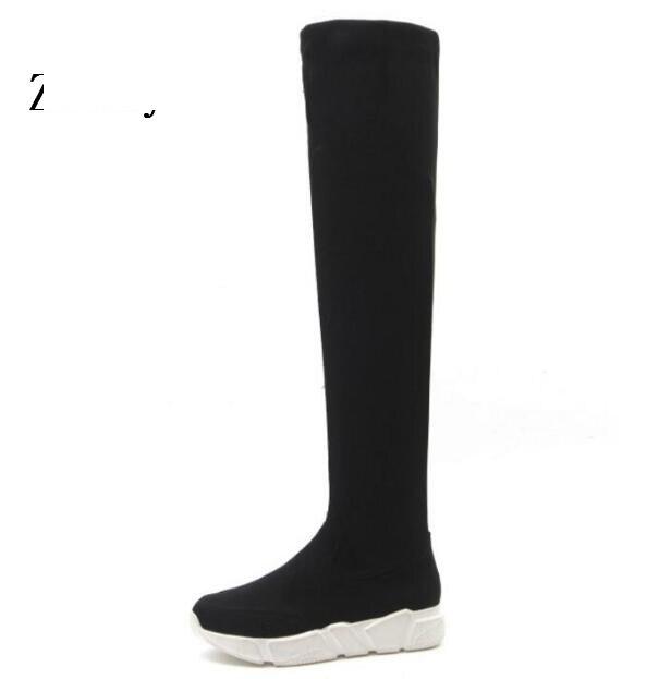 Zapatos Filles Dames Occasionnel forme D'hiver Mujer De Chaussures Femmes Bottes Chaussure Wedge Le Femme Neige Plate P161188 Sur Black Genou yNvm0w8On