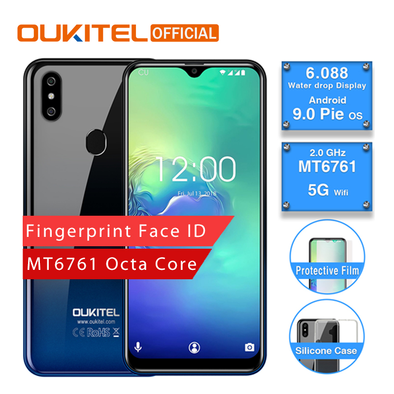 OUKITEL C15 Pro Android 9.0 Mobile Phone MT6761 Fingerprint Face ID 4G LTE Smartphone 2.4G/5G WiFi Waterdrop Screen 2+16GB/3+32G writing