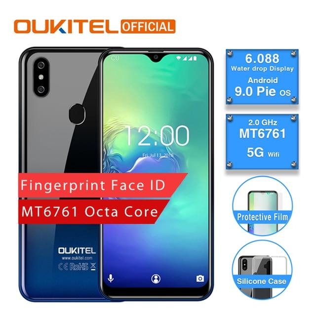 OUKITEL C15 Pro Android 9,0 teléfono móvil MT6761 huella Face ID 4G LTE Smartphone 2,4G/5G pantalla de gota de agua WiFi 2 + 16 GB/3 + 32G