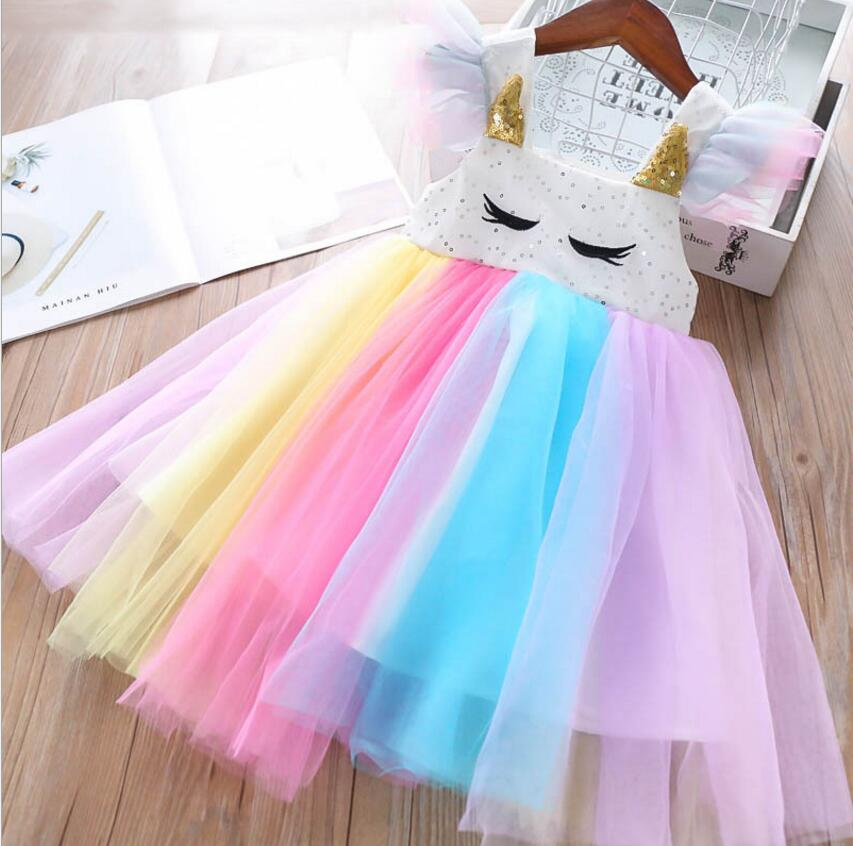 girls rainbow dresses 2019 summer girls sequins tulle dresses sweet girls princess dress fashion Children dress