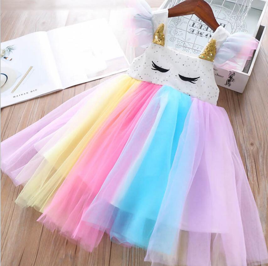 girls rainbow dresses 2019 summer girls sequins tulle dresses sweet girls princess dress fashion Children dress
