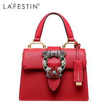 LAFESTIN 2018 Women Handbag Brand Designer Diamonds Real Leather Bag Fashion Women Totes Shoulder Luxury brands Bag bolsa