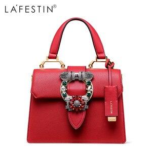 Image 1 - LAFESTIN 2018 Women Handbag Brand Designer Diamonds Real Leather Bag Fashion Women Totes Shoulder Luxury brands Bag bolsa