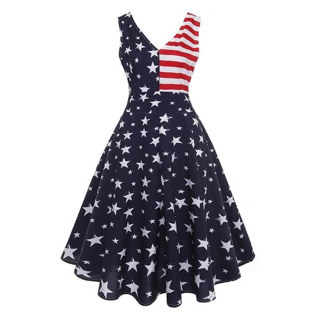 USA Independence Day Women Dress American Flag Retro Vestidos ...