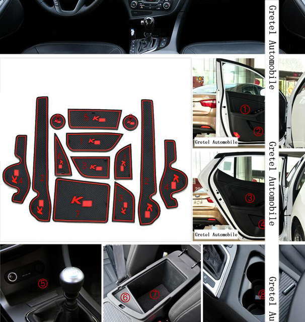 For KIA K5 2011-2015 Car Anti slip dust mat sticker gate slot pad door carpets Interior cup holder decoration