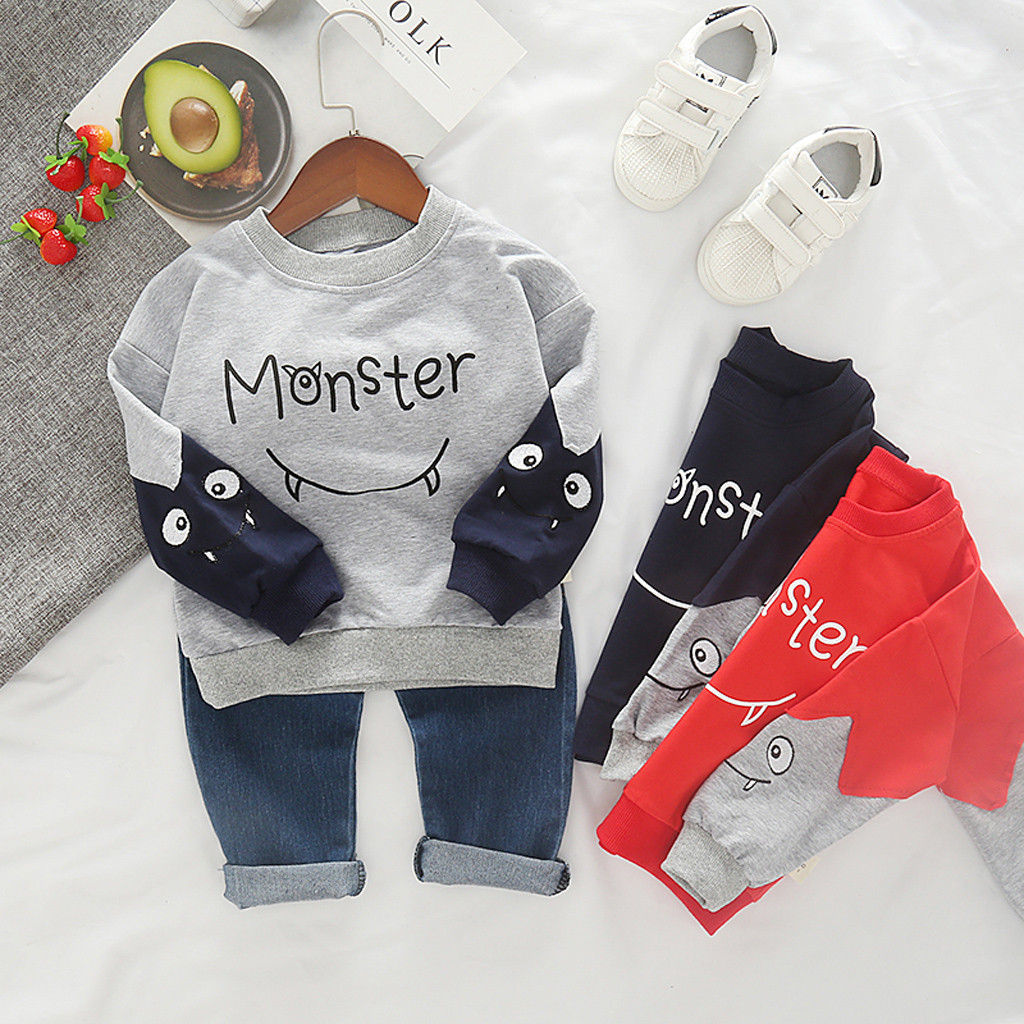 Children Kids Clothing Sets Autumn Winter Girls Boys Cartoon Letter Long Sleeve Tops Cowboy Pants Outfits Set For 1-5Y