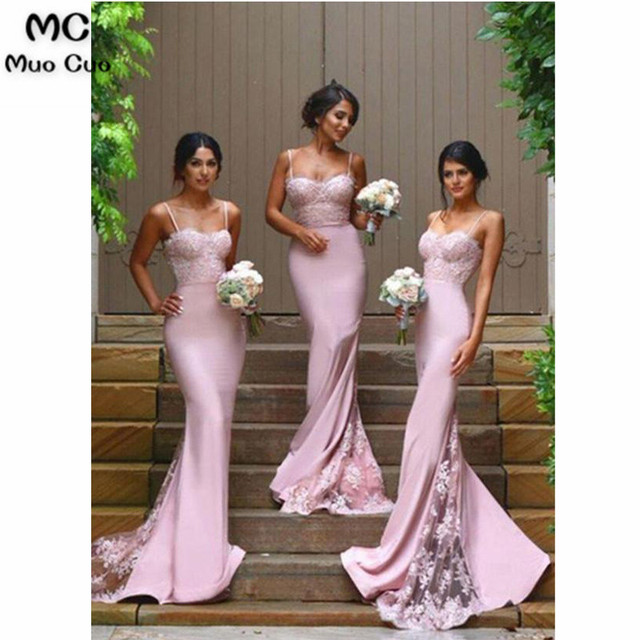 7adfbd1523 US $109.65 15% OFF|2018 Sexy Mermaid Bridesmaid Dresses Long with Appliques  Spaghetti Straps Wedding Party Dress Elastic Satin Bridesmaid Dress-in ...