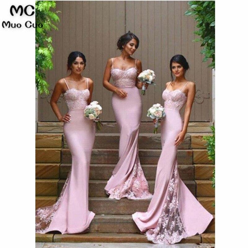 2018 robes de demoiselle d'honneur sirène Sexy longue avec Appliques bretelles Spaghetti robe de soirée de mariage robe de demoiselle d'honneur en Satin élastique