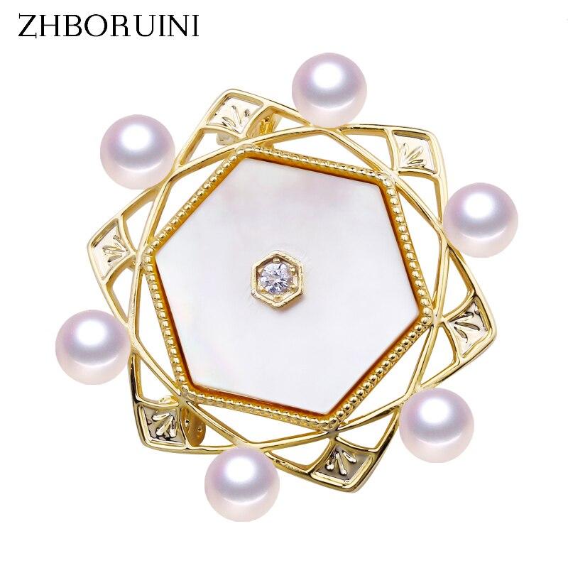 ZHBORUINI 2019 New Design Fine Jewelry Natural Freshwater Pearl Brooch Geometry Seashell Pins Women