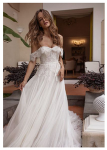 Image 5 - Vestido de novia de encaje, sin hombros, Informal, hasta el suelo, blanco marfil, para playa, elegante, 2019