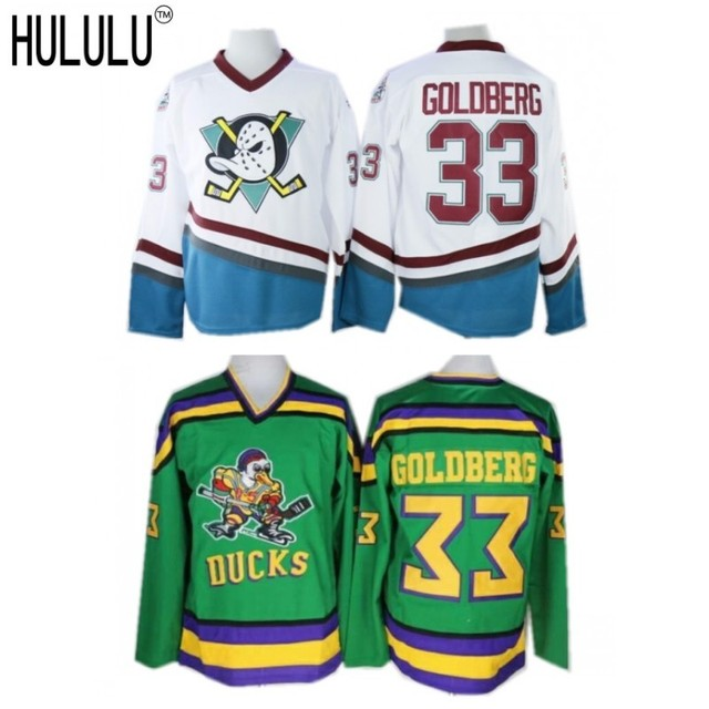 fe43c475c ... good 61158 7fcd2 Mighty Ducks Movie Jersey 33 Greg Goldberg Hockey  Jersey Stitched Green White; huge selection of ...