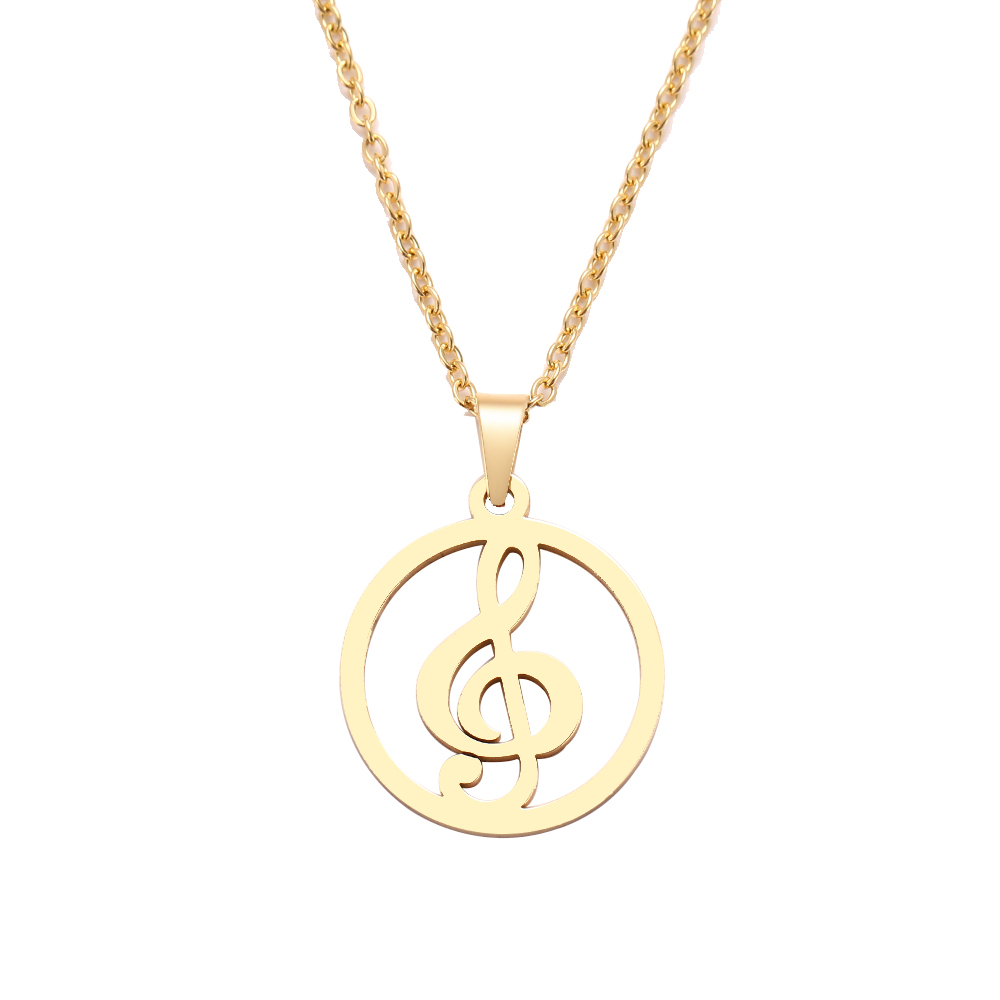 HTB1035Ia.T1gK0jSZFrq6ANCXXaO - DOTIFI  Stainless Steel Necklace For Women Man Musical Symbol Gold And Silver Color Pendant Necklace Engagement Jewelry