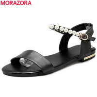 MORAZORA Plus Size 34 43 New High Quality Genuine Leather Shoes Woman Flat Buckle Strap Women