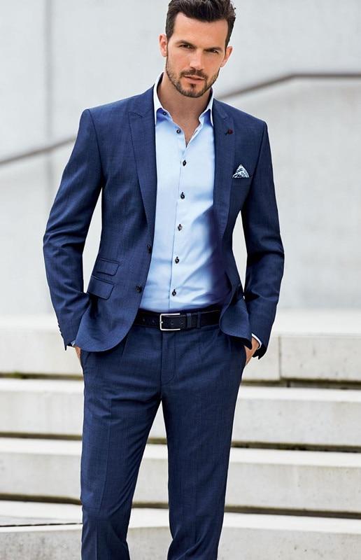 119cb5ec254fd Slim Fit smokin İki düğmeler yaka doruğa Bule kuyruklu Made örgün yüksek  kalite moda 2 adet (ceket + pantolon + kravat) terno Masculino