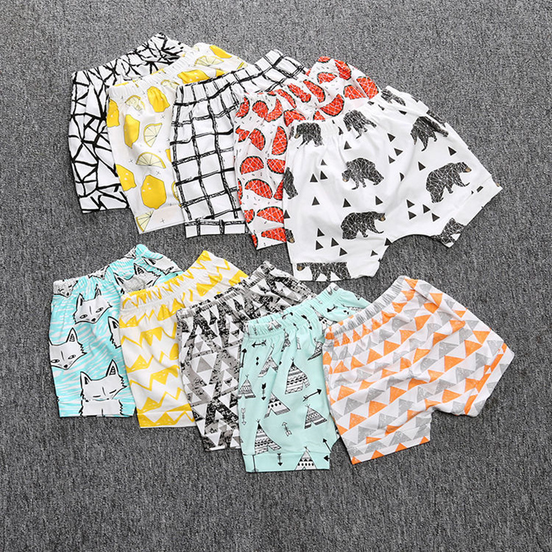 Kids Baby Short Pants Baby Boys Girls Cartoon Animal Pattern Loose Casual Short Leggings Trousers Summer PP Pants Clothing