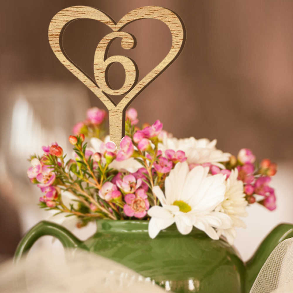 Multi-Use Number 1-10 Wooden Wedding Table Flower Seat Card Cake Topper Decorative Digital Topper Wedding Party Direction Signs