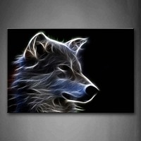 Framed Wall Art Pictures Grey Wolf Canvas Print Animal Modern Poster With Wooden Frame For Living Room Home Office Decor