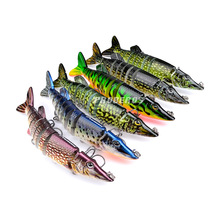 "5 ""/12.5 cm 20 g realistic multi-joint segment 8 Pike Muskie lures bait fish swimming treble hook fishing gear 6 color options"
