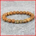 1 шт. 8 мм бисера природные деревянные бусины роза череп главы браслет yoga мала тибетский венге деревянные мужчины браслет