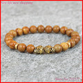 1pc 8mm beaded natural wood beads rose skull heads bracelet yoga mala tibetan wenge wooden men bracelet