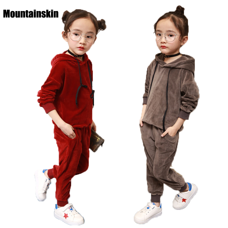 Girls Clothing Sets New Fashion 2-9Y Kids Velvet Sports Suits 2017 Spring Baby Girls 2Pcs Casual Sweatshirts & Pants Korea SC793