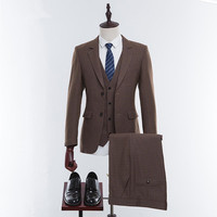 High Quality Wool Tweed Brown Lapel Custom Men's Suits Vintage Prom Men's Suits and Men's Office Professional Suits