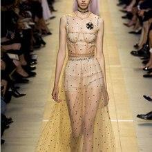 Высокое качество Элитный бренд Мода 2017 г. весенние женские пикантные открытые Сетчатое платье леди без рукавов с круглым вырезом женские алмазы платья с блестками