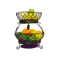 2 Tier Fruit/Vegetables/Produce Metal Basket Rack Display Stand with Drainboard