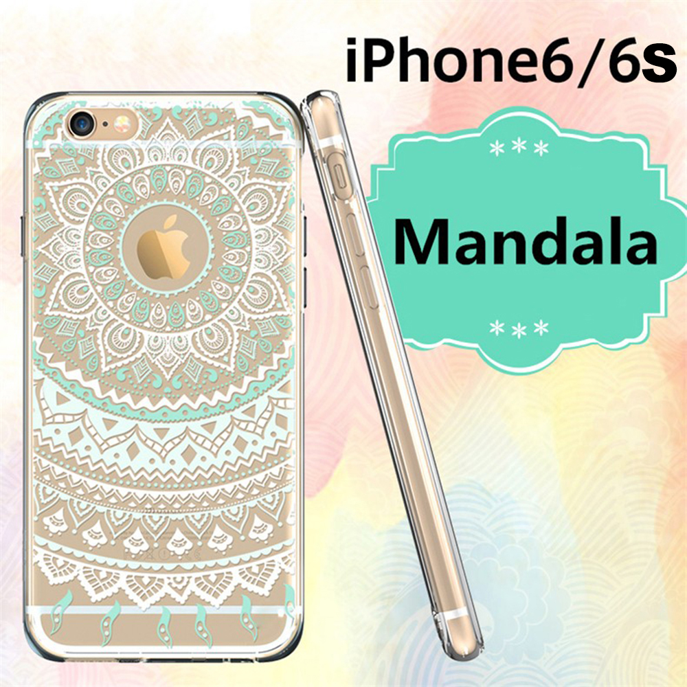 New Arrivals Silicon Gel Soft Case For iphone 6 For iphone 6s(4.7 inch screen )Dirt-resistant Vintage Flower(Mint Mandala)