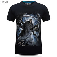 Summer Trend Men Short Sleeved Europe And The United States Wind 3d Three Dimensional Skeleton Devil