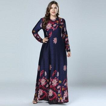46eb1421cd Impreso Abaya vestido musulmán Floral árabe Abayas Dubai Kaftan Maxi vestidos  para las mujeres vestidos baju musulmán pesta azul marino M-4XL