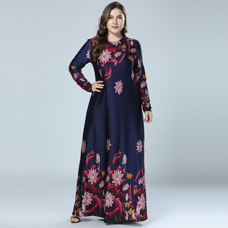 Printed Abaya Muslim Dress Arabic Floral Abayas Kaftan Dubai Maxi Dresses For Women Vestidos Baju Muslim Pesta Navy Blue M-4XL