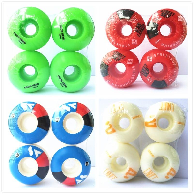 4 buc / set roți de skateboarding de calitate cu roți grafice Rodas de Skate din plastic profesional 50/52/54 / 56mm jante