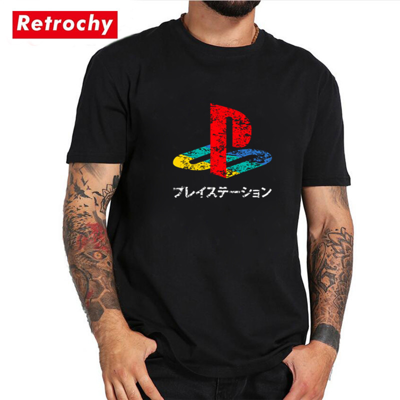 Vintage PS Logo   T  -  shirt   Kids funny 3D playstation tshirt Japan style creative   t     shirt   Man Streetwear summer Pure cotton top tees