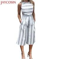 JAYCOSIN 2017 Jumpsuits Fashion Women Sleeveless Striped Jumpsuit Casual Clubwear Wide Leg Pants Outfit C7717Q