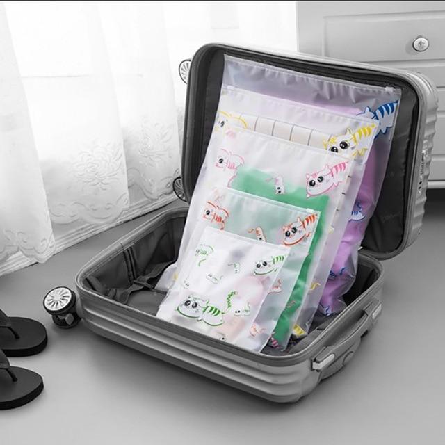 New Storage Bag Cat Pattern Waterproof Eva Travel Bags For Clothing Shoes Makeup Organizer Ziplock