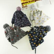Новинка года, зимние комплекты из шерстяной шапки и шарфа с героями мультфильмов комплекты из шапки и шапочки с воротничком для малышей возрастом от 0 до 4 лет хлопковые плотные теплые детские шапки
