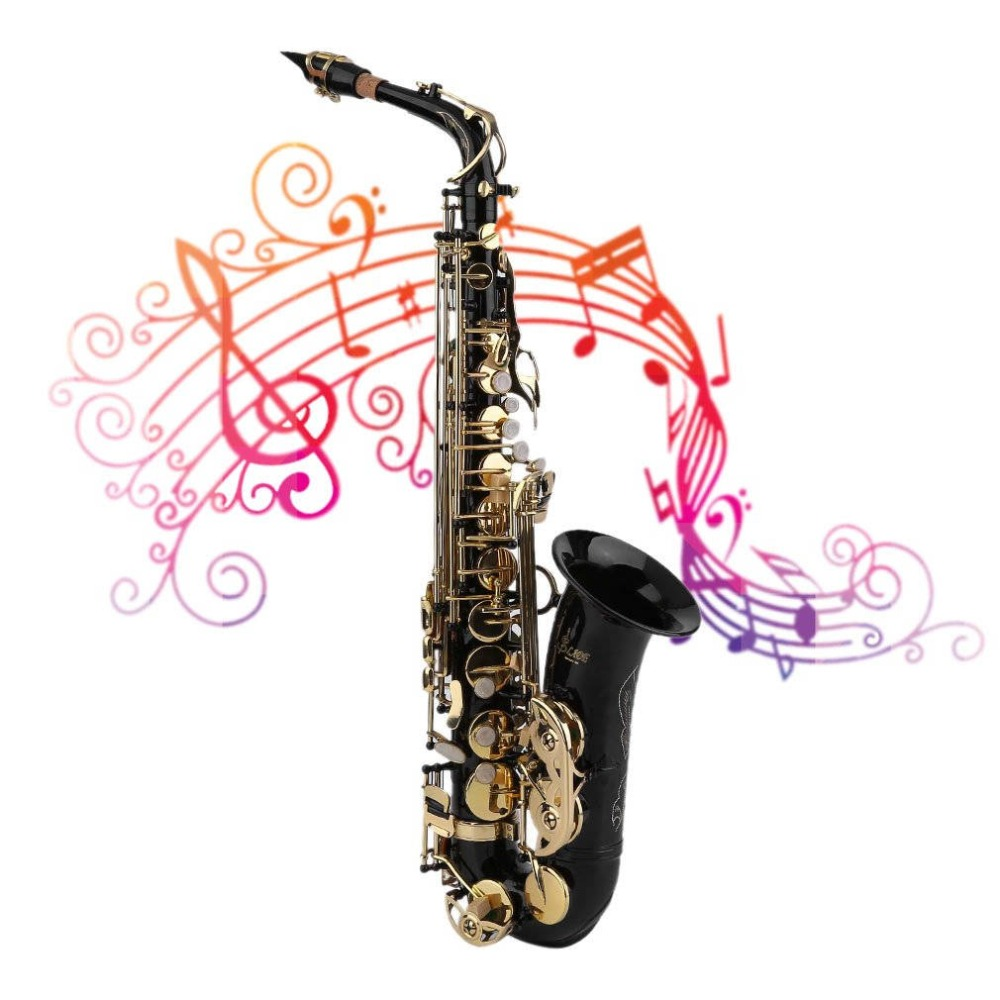 Alto Saxophone Sax Electrophoresis Technology Midrange Sax with Hard Case Professional Musical Instruments new 2017 senior french brand conn selmer black lacquer alto saxophone e as 710 matt encarved alto sax with mouthpiece