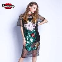 7mang 2018 summer women sexy street novelty black cartoon mermaid loose sequins straight mesh dress perspective dress