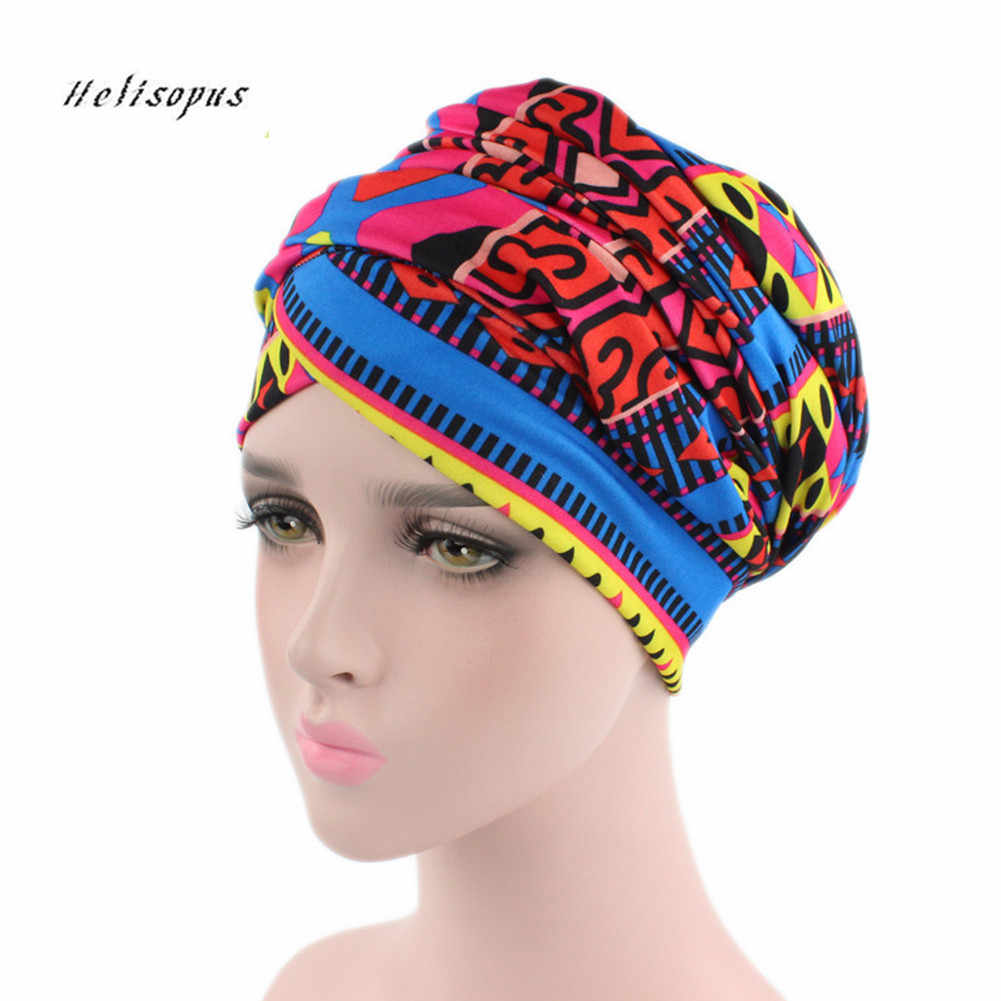Helisopus Women New African Cotton Scarf Wrapped Head Turban Ladies Hair  Accessories Scarf Hat Headwrap Long c1fb62a1542
