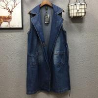 plus size 3XL!Cotton Loose Denim Vest Women Cardigan Sleeveless Jacket Adjustable Waist Coat Slim Jean Female Waistcoat