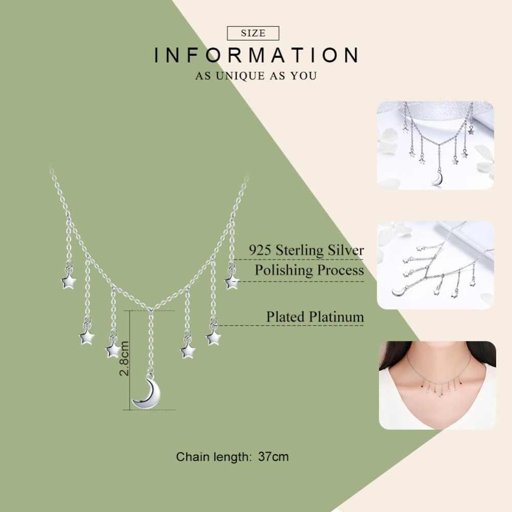 BAMOER réel 925 en argent Sterling étoile chaîne étincelant lune étoilé pendentif colliers pour femmes en argent Sterling bijoux SCN301